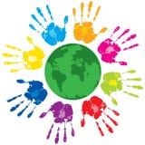 зеленый цвет вручает людскую планету Стоковые Фотографии RF