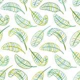 Зеленый цвет выходит, безшовная картина для вашего дизайна Стоковое Изображение