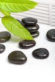 зеленый цвет выходит белизна полотенца камней спы Стоковое Изображение RF