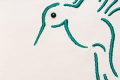 зеленый цвет вышитый птицей Стоковое фото RF