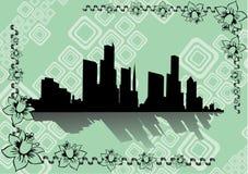 зеленый цвет города предпосылки Иллюстрация вектора