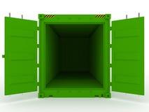 зеленый цвет грузового контейнера открытый стоковое фото