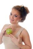 зеленый цвет девушки яблока Стоковая Фотография RF