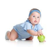 зеленый цвет девушки babyfood яблока здоровый Стоковые Фотографии RF