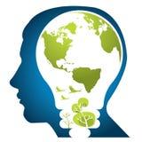 зеленый цвет думает мир Стоковое Изображение