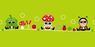 Зеленый цвет значков солнечных очков пластинчатого гриба и Ladybug мухы Cloverleaf знамени иллюстрация вектора