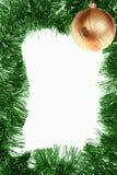 зеленый цвет золота рамки рождества шарика Стоковое фото RF