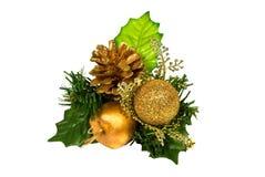 зеленый цвет золота украшения рождества ветви стоковое фото rf