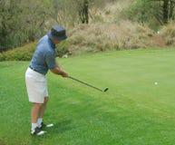 зеленый цвет игрока в гольф Стоковые Изображения