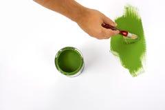 Зеленый цвет картины руки Стоковое Изображение