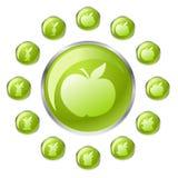 зеленый цвет кнопки яблока Стоковые Фотографии RF