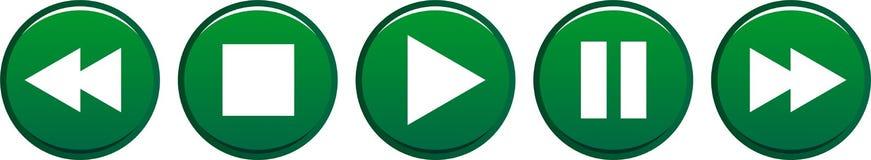 Зеленый цвет кнопок паузы стопа игры иллюстрация штока