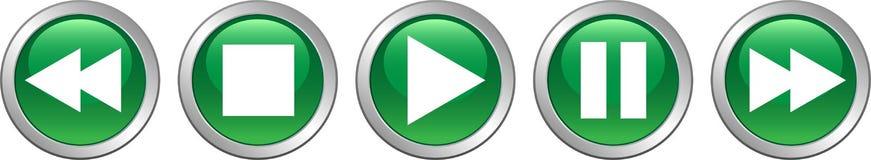 Зеленый цвет кнопок паузы стопа игры бесплатная иллюстрация