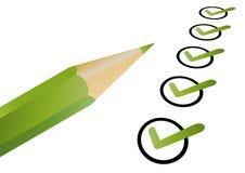 зеленый цвет контрольного списока Стоковая Фотография