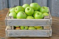зеленый цвет коробки яблок Стоковые Фото