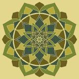 Зеленый цвет мандалы, орнамент мандалы Chakra сердца восточный иллюстрация вектора