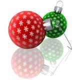 зеленый цвет орнаментирует красную представленную снежинку бесплатная иллюстрация