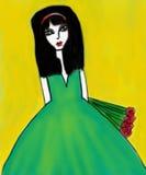 зеленый цвет платья Стоковые Фотографии RF