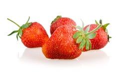 зеленый цвет плодоовощей выходит красная клубника Стоковое Фото