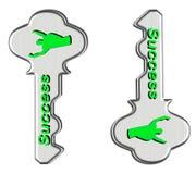 зеленый цвет пользуется ключом successs к Стоковое Изображение RF