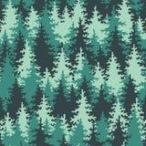 Зеленый цвет пущи безшовной картины coniferous Стоковая Фотография RF