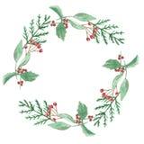 Зеленый цвет рождества зимы акварели красный выходит ягодам праздничная граница венка Стоковое Изображение