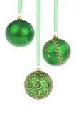 зеленый цвет рождества baubles стоковое изображение rf