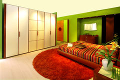 зеленый цвет спальни Стоковое Изображение RF