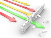 зеленый цвет стрелки Стоковая Фотография
