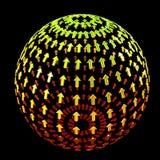 зеленый цвет стрелок сделал красную сферу Стоковая Фотография