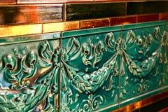 Зеленый цвет текстурировал конец детали плитки вверх Стоковые Фотографии RF