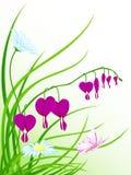 зеленый цвет травы цветков бабочки Иллюстрация штока