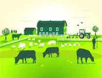 зеленый цвет фермы иллюстрация штока