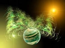зеленый цвет фрактали предпосылки иллюстрация вектора
