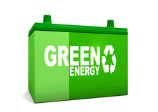 зеленый цвет энергии автомобиля батареи Стоковое Изображение RF
