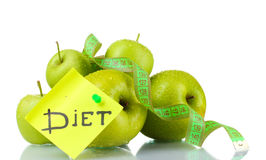 зеленый цвет яблок измеряя зрелую ленту Стоковые Изображения RF