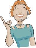 зеленый цвет девушки центра телефонного обслуживания Стоковое Изображение