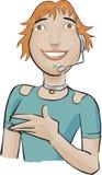 зеленый цвет девушки центра телефонного обслуживания Стоковая Фотография RF