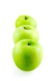 зеленый цвет 3 яблок свежий Стоковая Фотография