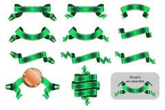 Зеленый цвет b версии стикера ярлыка знамени ленты торжественный достигая установленный бесплатная иллюстрация
