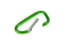 зеленый цвет carabiner Стоковая Фотография RF