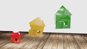 Зеленый цвет 3d-illustration дома красный желтый бесплатная иллюстрация