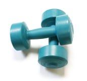 зеленый цвет dumbells Стоковые Фотографии RF