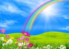 зеленый цвет glade над радугой Стоковые Изображения