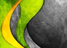 Зеленый цвет Grunge волнистый корпоративный и желтая предпосылка стоковое фото