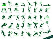 зеленый цвет silhouettes резвиться Стоковая Фотография RF
