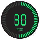 Зеленый цифровой таймер 30 минут электронный секундомер при шкала градиента начиная значок вектора, часы и вахту, таймер бесплатная иллюстрация