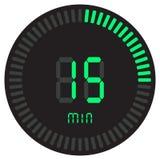 Зеленый цифровой таймер 15 минут электронный секундомер при шкала градиента начиная значок вектора, часы и вахту, таймер иллюстрация штока