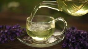 Зеленый чай в красивом стеклянном шаре на таблице сток-видео