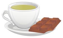 Зеленый чай и шоколад иллюстрация вектора